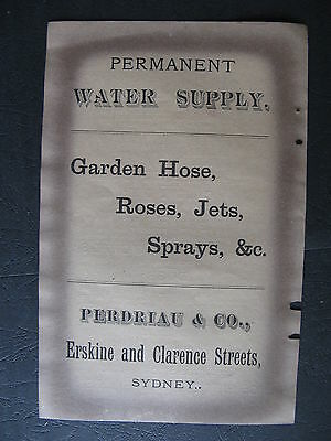 Perdriau & Co Water Supply Garden Hose Erskine & Clarence St Sydeny 1888