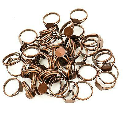 50 Ring Blanks BULK Findings Ring Setting Antiqued Copper Brass Adjustable Rings