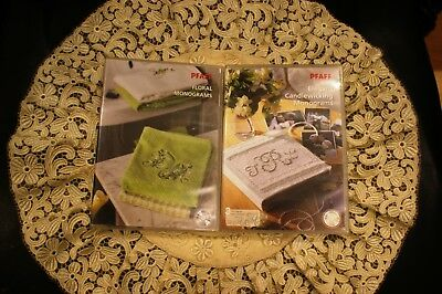 Lot of embroidery PFAFF cd# 375 Elegant Candlewicking Monograms & cd# 407 Floral