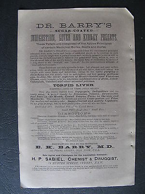 Dr Barry's Indigestion Liver & Kidney Pills E K Barry H P Sabiel Chemist 78 Hunt
