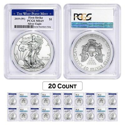 Lot of 20 - 2019 (W) 1 oz Silver American Eagle $1 PCGS MS 69 FS (West Point)