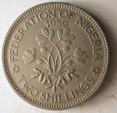 1959 NIGERIA 2 SHILLINGS - HARD TO FIND - Rare Exotic African Coin - Lot #J23