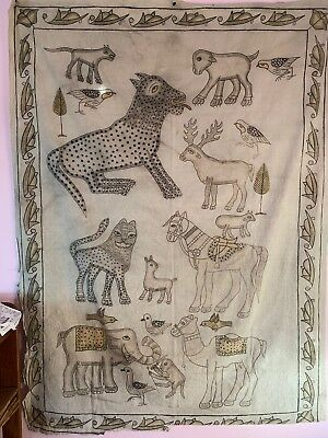 """Vintage Indian Mid Century Hand Painted Wall Hanging- Folk Art- 49"""" X 65"""""""