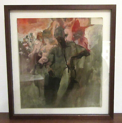 Larry Rivers - Vintage Signed & Framed Painting - Self Portrait - NYC Nude
