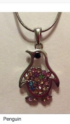 Penguin Necklace Rainbow crystals NWT Pendant With Chain