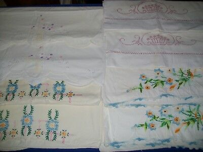 Vintage Pillowcases Embroidered Flowers 4 Pair Lot