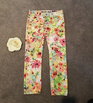Girls GUESS Brand Graphic Floral Multi-Colour Skinny Stretch Jeans Pants Size 8
