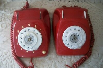 2 Vintage Red Rotary Dial Telephone PMG 802 AWA PMG S1/204 STC