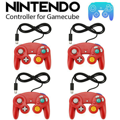 4 X Red Wired Controller for Nintendo GameCube GC & Wii Console CLASSIC JOYPAD