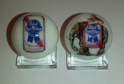 """Set of 2 Pabst Blue Ribbon Collectible Glass 1"""" Logo Marble With Stands"""