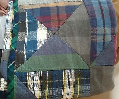 EXC Handmade PATCHWORK Quilt NO lump Easy Wash EARTHY Blue Green TWIN Full Lodge