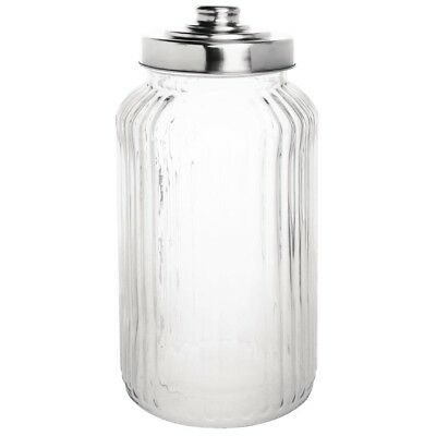 Pack of 6 Olympia Ribbed Glass Storage Jar 1.4Ltr Clear | Glassware