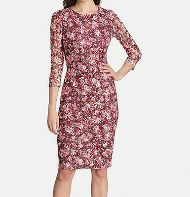 461ff43b Kensie NEW Red White Womens Size 2 Floral-Lace Stretch Sheath Dress $98 469