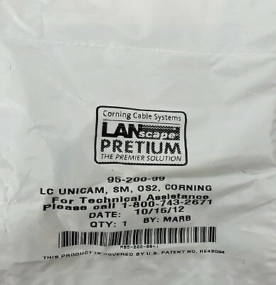 CORNING 95-200-99 UniCam LC SM Fiber Optic Connector, OS2, Blue Boot(Lot of 23)