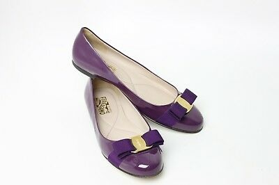 5f3d8691aef5 SALVATORE FERRAGAMO VARINA Purple Patent Leather Flats Women s Size ...