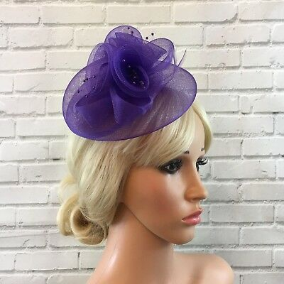 Purple  Comb Fascinater Stiffend Mesh Flower With Beads Bow Feathers Weddings