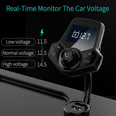 Wireless Car Kit FM Transmitter Quick Charge 3.0 Bluetooth MP3 Player 2 USB