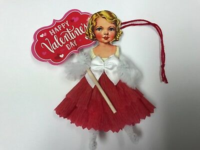 Paper doll ornaments, feather tree, vintage Valentine's Day gift tags, item# 28A