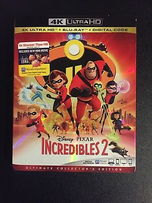 Incredibles 2 4K Ultra HD 4K + Blu ray + Digital HD & Slipcover New