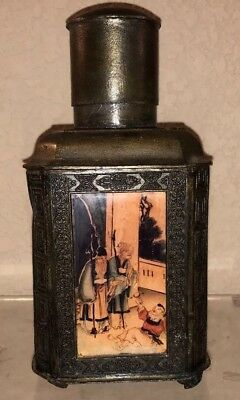 ANTIQUE Oriental Bronze Pewter CHINESE Reverse Painted TEA Caddy Pot