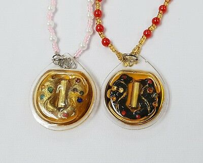Salika Double  Birds Oil Pendant, Thai Amulet, Rich Luck Love and Protection