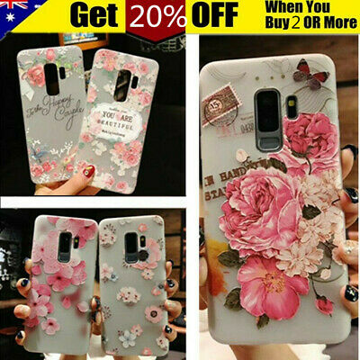 For Samsung S10 S9 S8 Plus Note9 8 Flower Pattern Slim Soft TPU Clear Case Cover