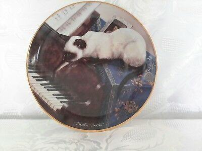 """Franklin Mint """"A Touch of Ivory"""" Daphne Baxter Limited Edition Cat Plate #PD1636"""