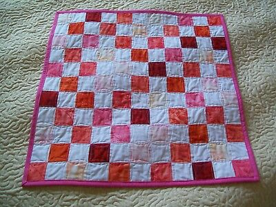 HANDMADE Dolls Patchwork Quilt  - Red Pink Orange - White Background - 22 x 22""