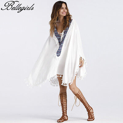 Plus Size Womens Boho Tassel Maxi Dress Loose Beach Holiday Casual Summer Kaftan
