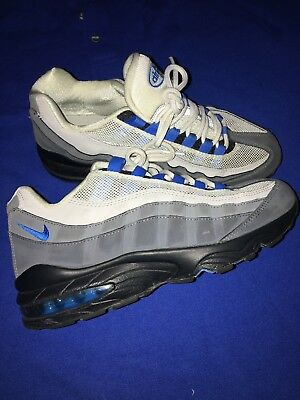 NIKE AIR MAX 95 Dark Grey Photo Blue Wolf Grey Running GS Size 7 Used Clean