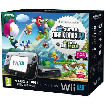 Nintendo Wii U Black Premium Pack 32GB New Super Mario Bros New Super Luigi 1Z