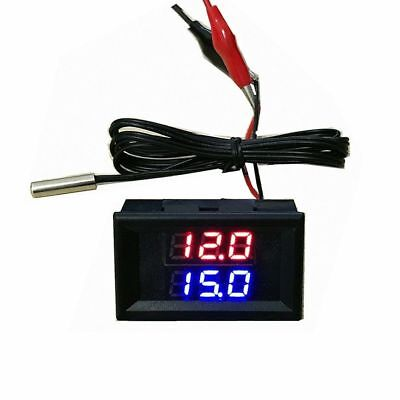2in1 LED Dual Display Digital voltmeter + Thermometer 12v 24v car voltage temp
