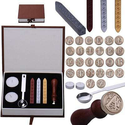 Retro Classic Initial Alphabet Wax Seal Stamp Kit Sealing Wax Letters Invitation