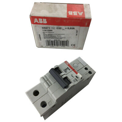 ABB RCD Residual Circuit Breaker 2 Pole 0.03A Current Overload Protection DS671