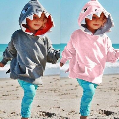 Toddler Baby Kids Boys Girls Long Sleeves Shark Hooded Tops Cloth Blouse Shirt