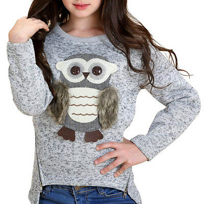 Toddler Baby Kid Girls Long Sleeve Cartoon Owl Print Tops Hoodie Blouse Pullover