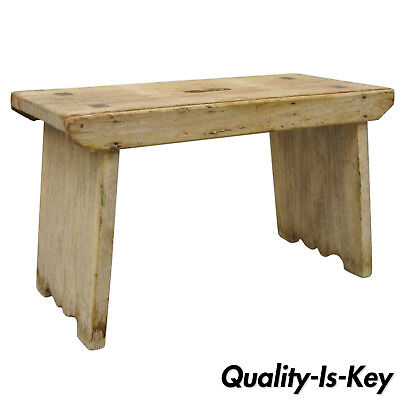 Small Antique Pine Wood French Country Primitive Distressed Step Stool w/ Handle