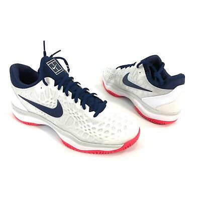 c92918a46dc Nike Air Zoom Cage 3 HC Women s Size 11 White Blue Red Tennis Shoe 918199-