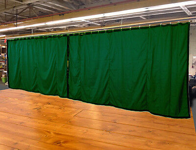 Lot of (2) Hunter Green Curtain/Stage Backdrop, Non-FR, 10 H x 20 W