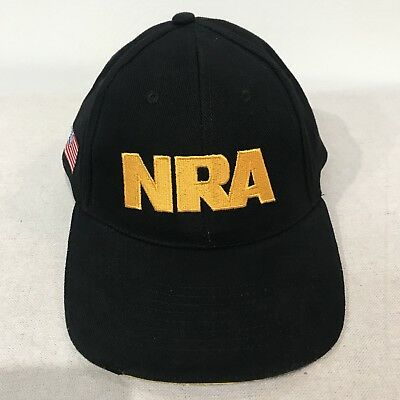 NRA National Rifle Association Hat Cap Black Yellow Gold Adjustable USA Flag  NOS eea8716aadd3
