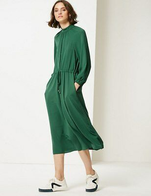 Ex M&S- LIMITED-  3/4 Sleeve Tea Dress in Green Size 8 - 22