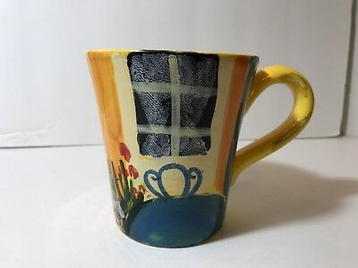 Vietri Coffee Mug Yellow Orange Floral Table Chair Painted Made in Italy Pottery