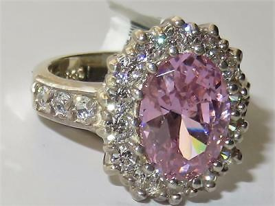 204 Sterling Silver Simulated Diamond Ring Pink Sapphire Oval Engagement Dres