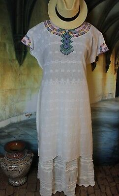 Resort Wear Kaftan Huipil Pastels on White Hand Woven & Embroidered Guatemala