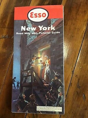 Vintage Map  1952 Esso Standard Oil Co Highway Map of New York Pictorial Guide