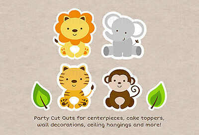 picture about Printable Decorations named Lovable JUNGLE SAFARI Pets Bash Cutouts Decorations Printable