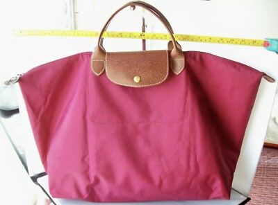 "Large Fuschia Longchamp Paris Le Pliage Tote Shopper ""L"