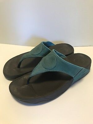 7a7db8ee4316f7 Fitflop Oasis Suede Sandals - Walking Footbed Thong Flip Flops Women s 9  Teal