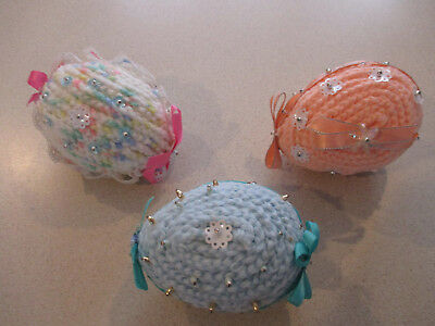 """Lot of 3 Large Yarn Easter Eggs beaded decorated - 4"""""""
