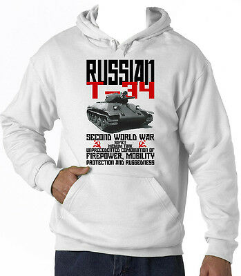 Russian T-34 Tank Wwii - New Cotton White Hoodie